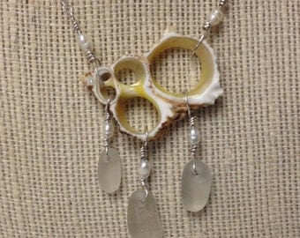 Sliced Seashell and White Sea Glass Necklace