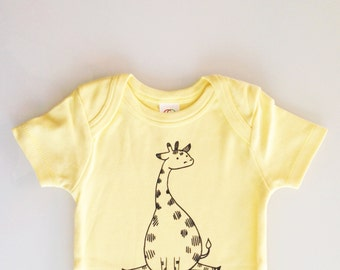 Giraffe one piece, modern baby shower, gender neutral baby, animal baby shower - 6-12m