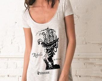 Marie Antoinette Short Sleeve Drape Shirt Woman's Tartx