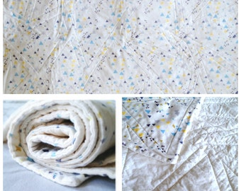 Made to order - organic cotton baby quilt - tiny triangles in blue, grey, lemon yellow, mustard and cream