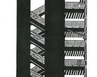 Modern Architecture Prints large linocut print mid century modern architecture in
