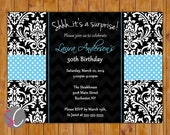 Surprise Birthday Party Invitation Damask Chevron Blue Black 21st 30th Milestone Adult Birthday 5x7 Digital JPG Printable (186-b)
