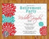 Retirement Party Invite Celebration Red Teal Floral Burst  Invitation 5x7 Digital JPG DIY Printable (288)