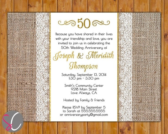 Cheap 50th Wedding Anniversary Invitations: 50th Golden Wedding Anniversary Invite Burlap And Lace Gold 50
