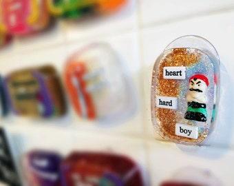 Funny Gift, SALE Geekery Geek, Housewarming Gift, Waterproof Art For Your Shower - Heart Hard Boy
