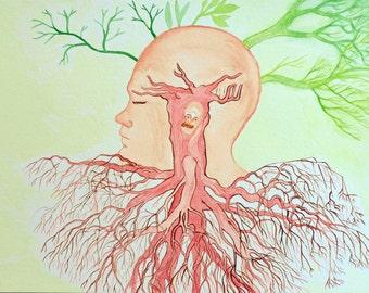 The Coat - The Roots - original watercolor painting by Jan Karpíšek