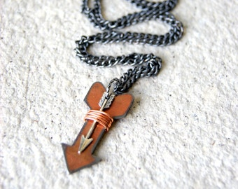 Double Arrow Necklace - copper plated steel arrow necklace - silver arrow necklace - arrow jewelry - Rustic Jewelry - LAST ONE!