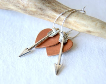 Arrow and Heart Earrings - Hoop Earrings - silver arrow earrings - heart earrings - heart jewelry - Arrow Jewelry - Valentine's Day Jewelry