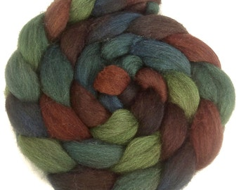 Handpainted Dark BFL Wool Roving - 4 oz. MALLARD - Spinning Fiber