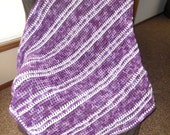SHADES of PURPLES and white afghan/throw/blanket/lapghan