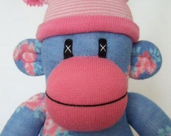 Shabby Chic Rose Sock Monkey with pin striped pom pom hat (made to order)
