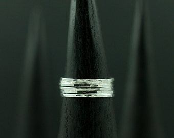 Thin Hammered Stacking Rings Handmade in the USA with Recycled Sterling Silver