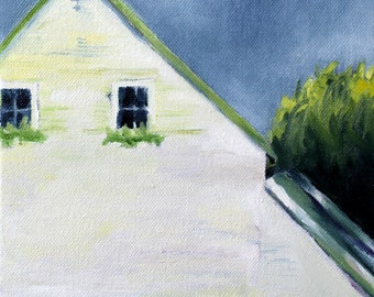House Painting / Original Oil Painting Print  / Farmhouse with Window Boxes