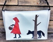 Red Riding Hood and the Wolf Gray Vinyl Messenger Bag