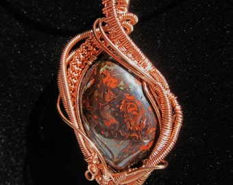 Copper Wire Wrapped Boulder Opal Pendant