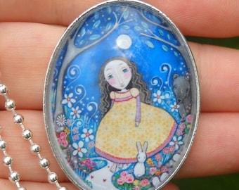 Secret Garden Art Necklace Little Girls Jewelry Oval Pendant Gift for Friend Garden Girl Bear Jewellery Silver Plated Bear Lover Pendant Art