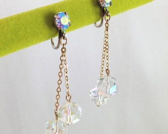 Vintage 1960s AB Rhinestone Dangle Earrings