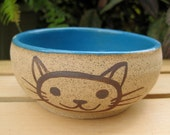 Cat bowl in Turquoise Blue