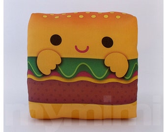 Food Pillow, Hamburger Pillow, Birthday Party, Throw Pillow, Kawaii, Room Decor, Dorm Decor, Childrens Pillow, Toys, 7 x 7""