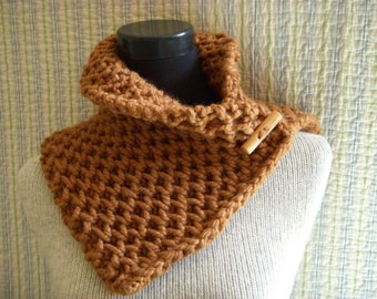 Burnt Sienna Tweed Textured Cowl Hand Knit Chunky Rustic Neck Warmer with Wood Toggle Button