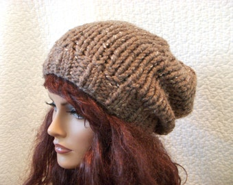 Brown Tweed Extra Slouchy Knit Hat, Beret, Slouch Tam Beanie