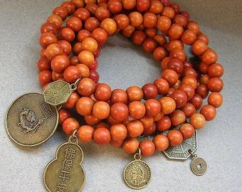 Buddha Bracelet - Brown Beaded Wood Bracelet - Wooden Bead Stretch Bracelet - Multi Strand Charm Bracelet