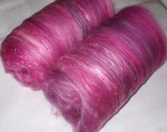 Softest merino silk batts, spinning fiber, wet/nuno/dry/needle felting wool, batting, pink, art batt, hand spinning fiber, 3.5oz/100g