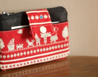 Zippered Pouch | Fabric Wallet | Vegan Wallet | Little Red Riding Hood Pouch |