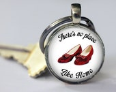 There's No Place Like Home - Ruby Slippers - Wizard of Oz Key Chain- Choice of Black or White - 1 Inch Round