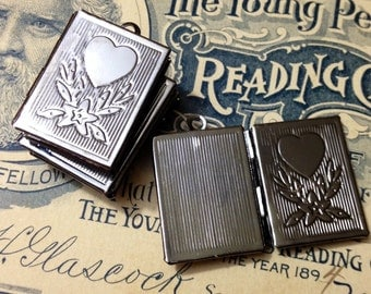 5pcs GUNMETAL BOOK LOCKETS Victorian Style Heart