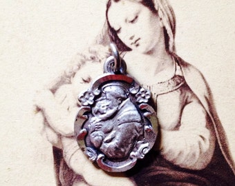 Tiny ST. ANTHONY MEDAL Vintage Chapel Sterling
