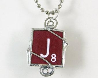 Maroon Scrabble Letter J Pendant Necklace