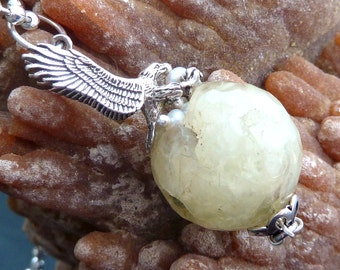 Eagle Nest with Eggs necklace pendant Prehnite orb pearls n sterling silver eagles