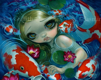 Swimming with Koi fairy art print by Jasmine Becket-Griffith 8x8 square mermaid fish pond