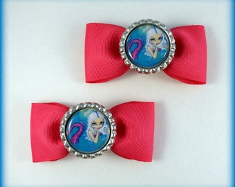 """Jasmine Becket-Griffith  """" Pink Spotted Mermaid """"  hair bow set"""