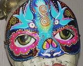 Sugar Skull Mask, Blue Birds Day of the Dead handpainted leather mask