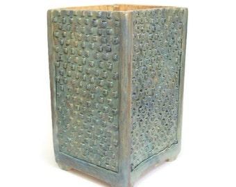 Ceramic Planter Box with Tiny Squares and Feet - Tall Ceramic Planter