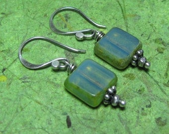 Sea View - Picasso Czech Glass and Sterling Silver Earrings