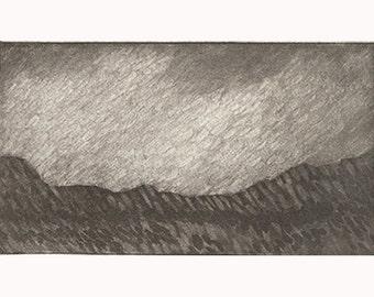 Desert landscape print, etching with aquatint, Sedona, Arizona, hand pulled Southwest art print
