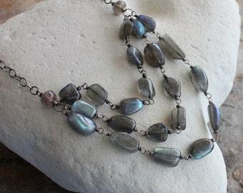 LABRADORITE necklace, Labradorite nugget silver necklace, multi strand, triple strand, sterling silver