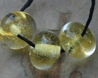 StoneyMarie Set of 3 Handmade Boro Borosilicate Lampwork Glass Beads Lemon
