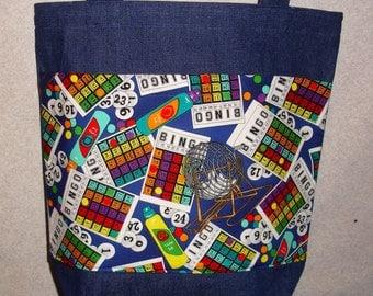 New Large Handmade Bingo Games Denim Tote Bag