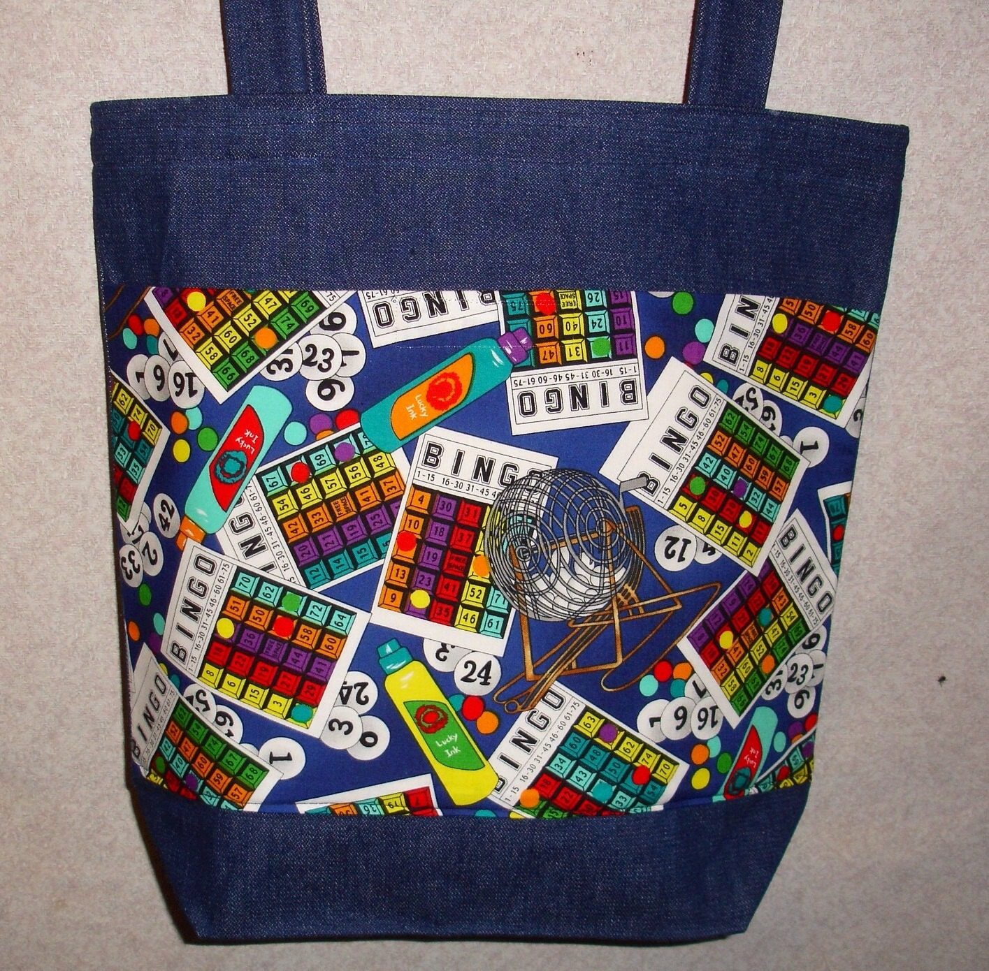 new large handmade bingo games denim tote bag. Black Bedroom Furniture Sets. Home Design Ideas
