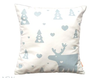 Smoky Blue Print on White Moose Pillow 13 Inches Square