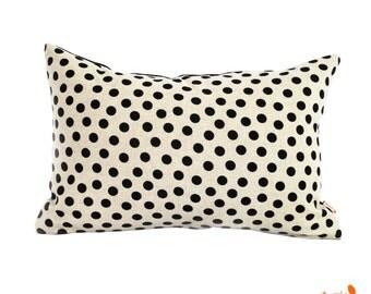 Black Polka Dot Pattern Rectangle Pillow
