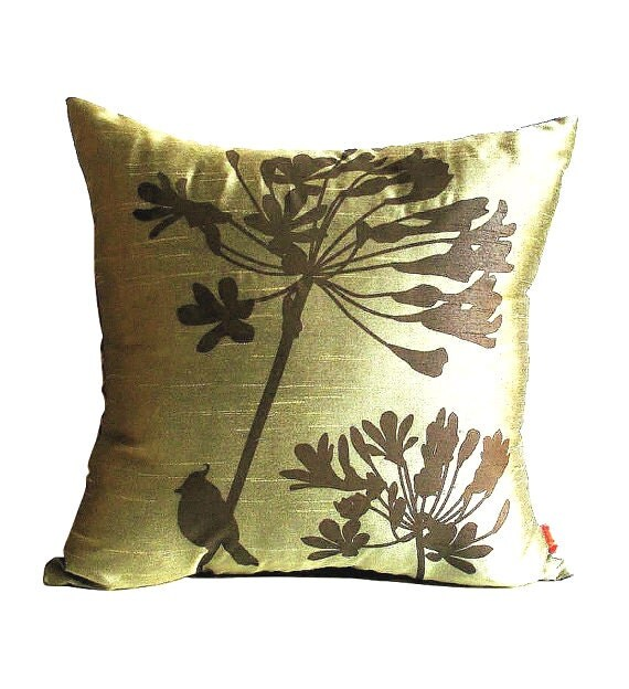 Limited Time Sale Olive Green Cardinal on Agapanthus 17 Inches Square Faux Silk Pillow