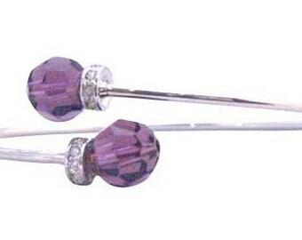 TB307 Amethyst Crytal Bracelet Wire Bracelet Genuine Amethyst Swarovski Crystals 8mm w\/ Silver Rondells (FREE SHIPPING)