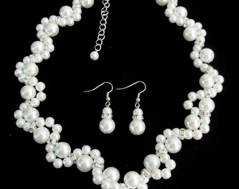 White Pearl Necklace Glass Pearl Necklace Earrings Bridesmaid Jewelry Flower Girl Maid Of Honor Bracelet Free Shipping In USA