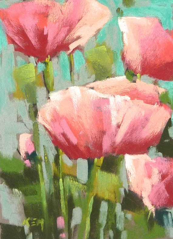 Nature watercolor flowers painting pink poppies abstract |Watercolor Poppies Pink