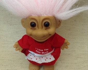 "I LOVE YOU 4"" Russ Troll Doll Circa 1990"